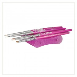 Soporte pinceles de mesa rosa